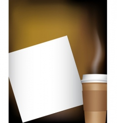 coffee cup with notepad vector image vector image