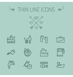 Ecology thin line icon set vector image vector image