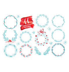hand drawn christmas wreath set with winter floral vector image