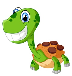 Happy cartoon turtle isolated on white vector image vector image