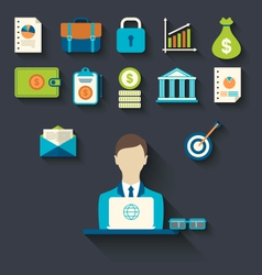 Infographic concepts of businessman with business vector image vector image