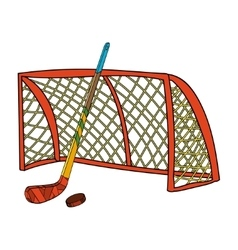set of hockey stick puck and gate vector image
