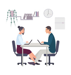 concept for office romance flirting at work love vector image vector image