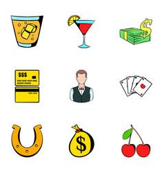 croupier icons set cartoon style vector image