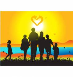 family and nature vector image vector image