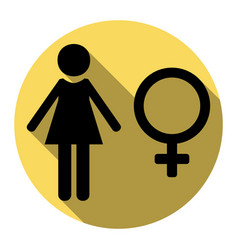 female sign flat black icon vector image vector image