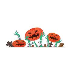 flat halloween pumpkin and zombies hands vector image vector image