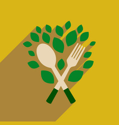 Flat web icon with long shadow eco cutlery vector