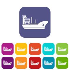 marine ship icons set vector image