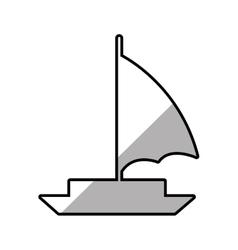 sailboat recreation travel line shadow vector image