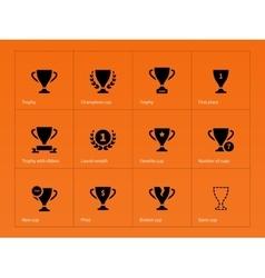 Trophy award icons on orange background vector image