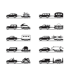 Vans and pickup trucks with trailers vector image vector image