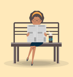 woman reading the newspaper vector image