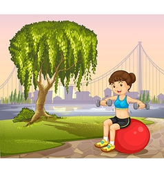 A lady near the old tree exercising vector image