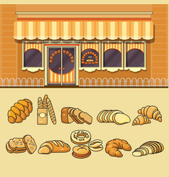 bakery shop facade and set of colorful food icons vector image vector image