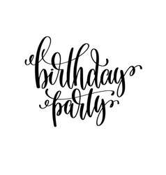 birthday party black and white handwritten vector image vector image