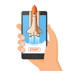 business startup concept rocket or space shuttle vector image