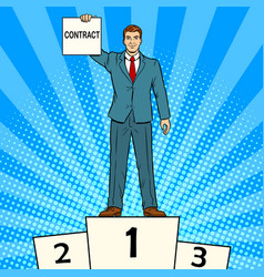 businessman with contract pop art vector image vector image