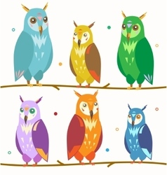 Cute Colorful Owl Set on the Branch vector image vector image