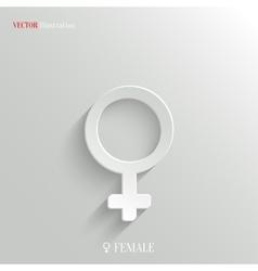 Female icon - white app button vector image vector image