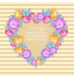 Heart floral frame vector image vector image