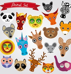 Set of funny animals muzzle vector image vector image