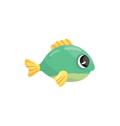 small green marine fish with yellow fins and shiny vector image