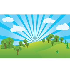 summer landscape with green nature vector image