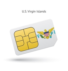 Us virgin islands mobile phone sim card with flag vector