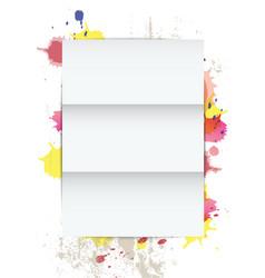 white paper on splatter background vector image vector image