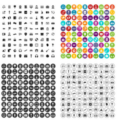100 headphones icons set variant vector