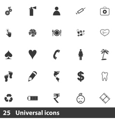 25 universal icons set vector