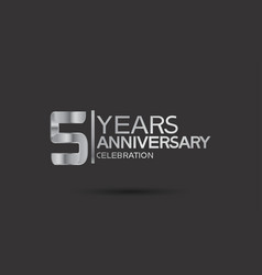 5 years anniversary logotype with silver color vector