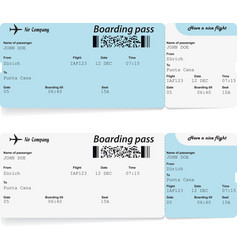 Airline boarding pass tickets for traveling vector