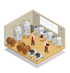 Alcoholic beverages production isometric vector