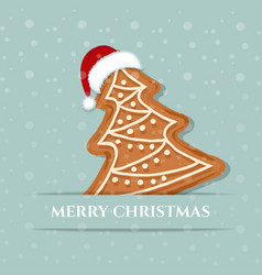 beautiful christmas card with gingerbread tree vector image