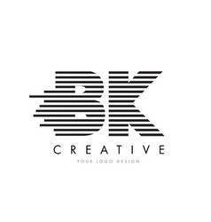bk b k zebra letter logo design with black and vector image
