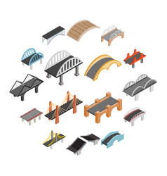 bridge set icons vector image