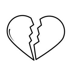 broken love heart pop art comic style line icon vector image
