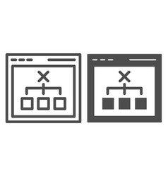 browser with choice line and glyph icon computer vector image