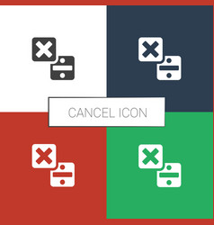 Cancel icon white background vector