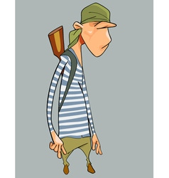 Cartoon character surly man in a striped vest vector