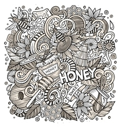 Cartoon cute doodles Honey vector