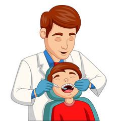 cartoon little boy having his teeth checked vector image