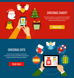 christmas charity and gifts banners vector image