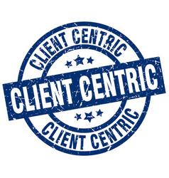 Client centric blue round grunge stamp vector