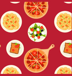 Colorful italian dishes and meals pattern vector