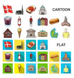 Country denmark cartoon icons in set collection vector