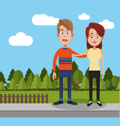 Couple man and woman yard fence trees vector