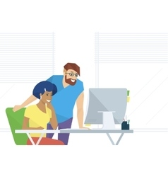 Creative office people working with computer vector